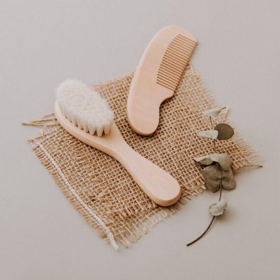 Kit escova e pente madeira